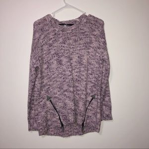 Kensie purple crew neck sweater with side zippers